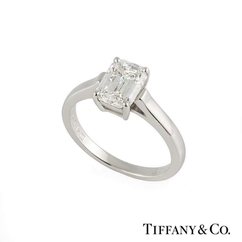 Tiffany & Co. Emerald Cut Diamond Ring in Platinum 1.56ct F/VS1 B&P